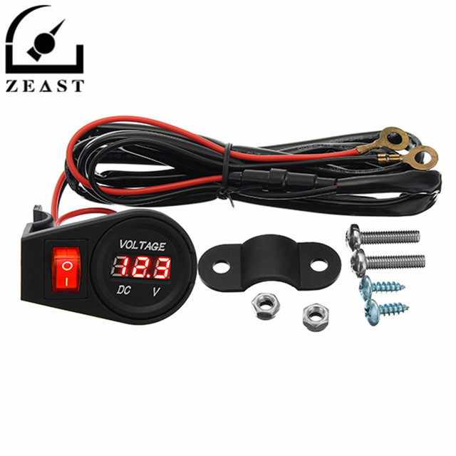 dc 12v 24v motorcycle led digital voltmeter volt meterr gauge with rh aliexpress com Ammeter Gauge Wiring Diagram Automotive Voltmeter Wiring -Diagram