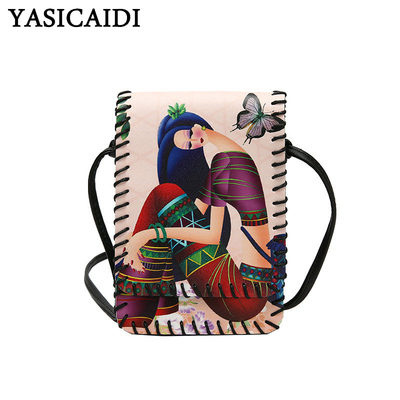YASICAIDI Fashion Leather Shoulder Bag Cell Phone Pocket Party Crossbody Bag With Butterfly Fruit Leaf Flower Girls Peacock Sac