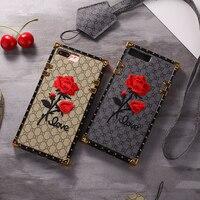 3D Nakış ile Vintage Kordon Telefon Kılıfı Için iPhone X 8 7 Artı 6 6 S El Yapımı Gül Çiçek Darbeye Hard Case Kapakları Fundas