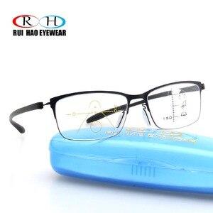 Image 2 - 안티 블루 레이 프로 그레시브 안경 독서 노안 안경 패션 프레임 클리어 렌즈 추가 + 1.00 ~ + 3.50 다 초점 안경