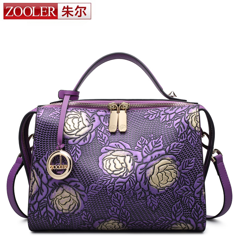 HOT ZOOLER women leather bag famous brands genuine leather bag high end embossed