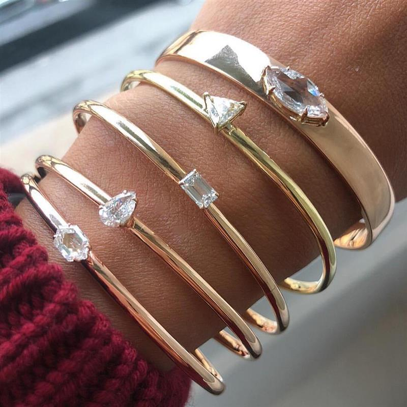 OBSEDE Simple triangular crystal AAAAA zicon bracelets for women party gift silver Gold fashion bangles Wristband cuff Gift