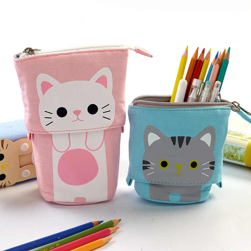 Criativo bonito gato lápis caso zíper kawaii dos desenhos animados lápis caixa caneta saco meninos meninas escola estudante artigos de papelaria presente suprimentos