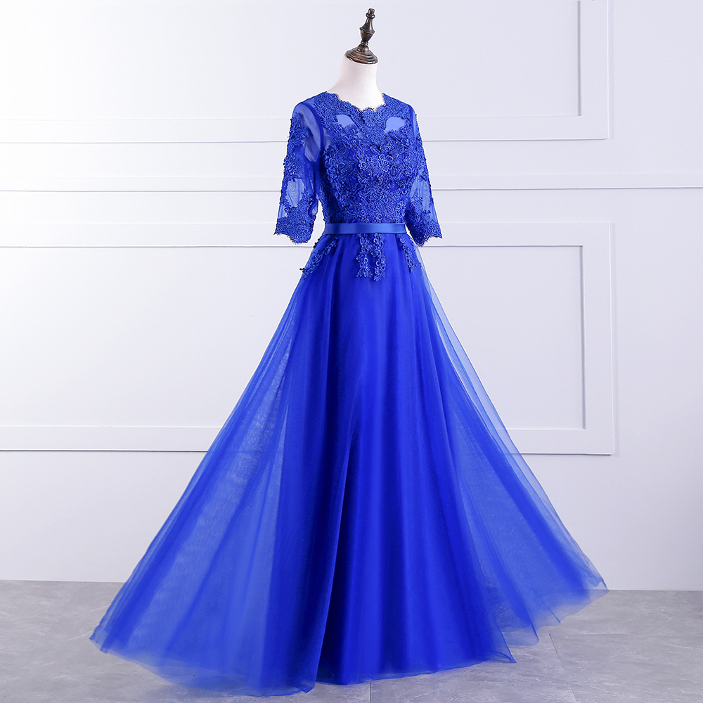 Potnpatio royal blue bridesmaid dress long elegant o neck half potnpatio royal blue bridesmaid dress long elegant o neck half sleeves luxury lace appliques wedding party dresses in bridesmaid dresses from weddings ombrellifo Image collections