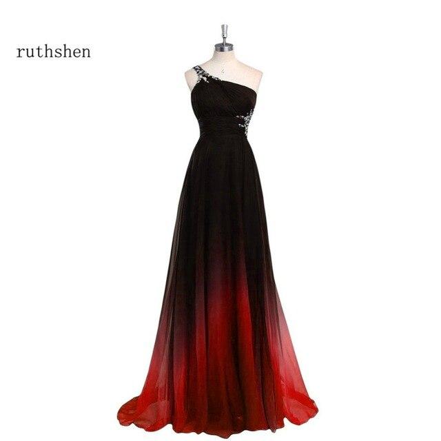 newest 19506 cd120 US $53.32 14% di SCONTO|Ruthshen Abiti Da Sera Lungo Una Spalla Nero  Sfumato Rosso In Rilievo Chiffon Vestito Da Promenade A Buon Mercato In  Stock ...