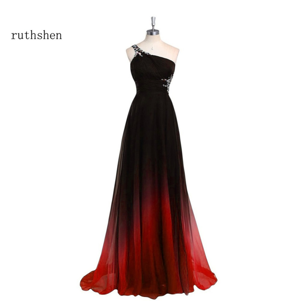 ruthshen Evening Dresses Long One Shoulder Gradient Black Red Beaded Chiffon Prom Dress Cheap In Stock Real Photo Vestido Longo