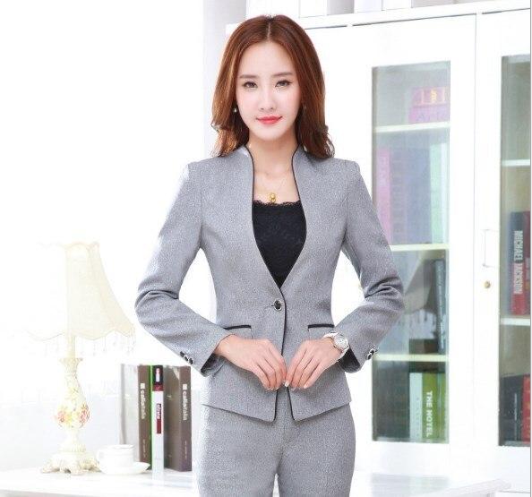 Women 2 Piece Pants Set Female Work Blazer Pants Suit Black Grey Ladies Slim Fit Trouser Suits Elegant Business Set