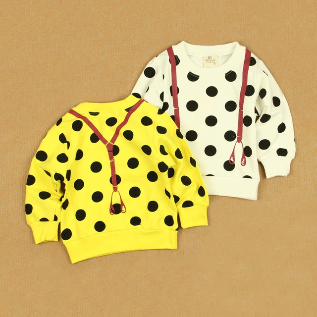 Dot suspenders baby spring male female child child small children's clothing modal cotton long-sleeve T-shirt