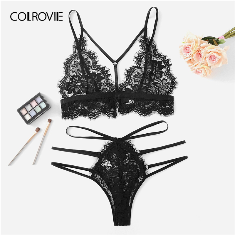 COLROVIE Black Harness Eyelash Lace Floral Sexy Intimates Women Lingerie   Set   Cut Out Wireless Transparent Underwear   Bra     Set