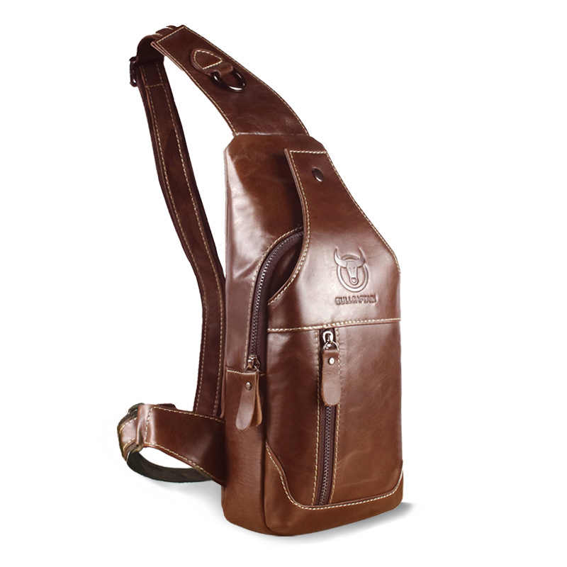85d5866b9f25 BULLCAPTAIN 2018 Hot Sale Casual Genuine Leather Bag Chest Bag For Men  Messenger Bags Mens Chest