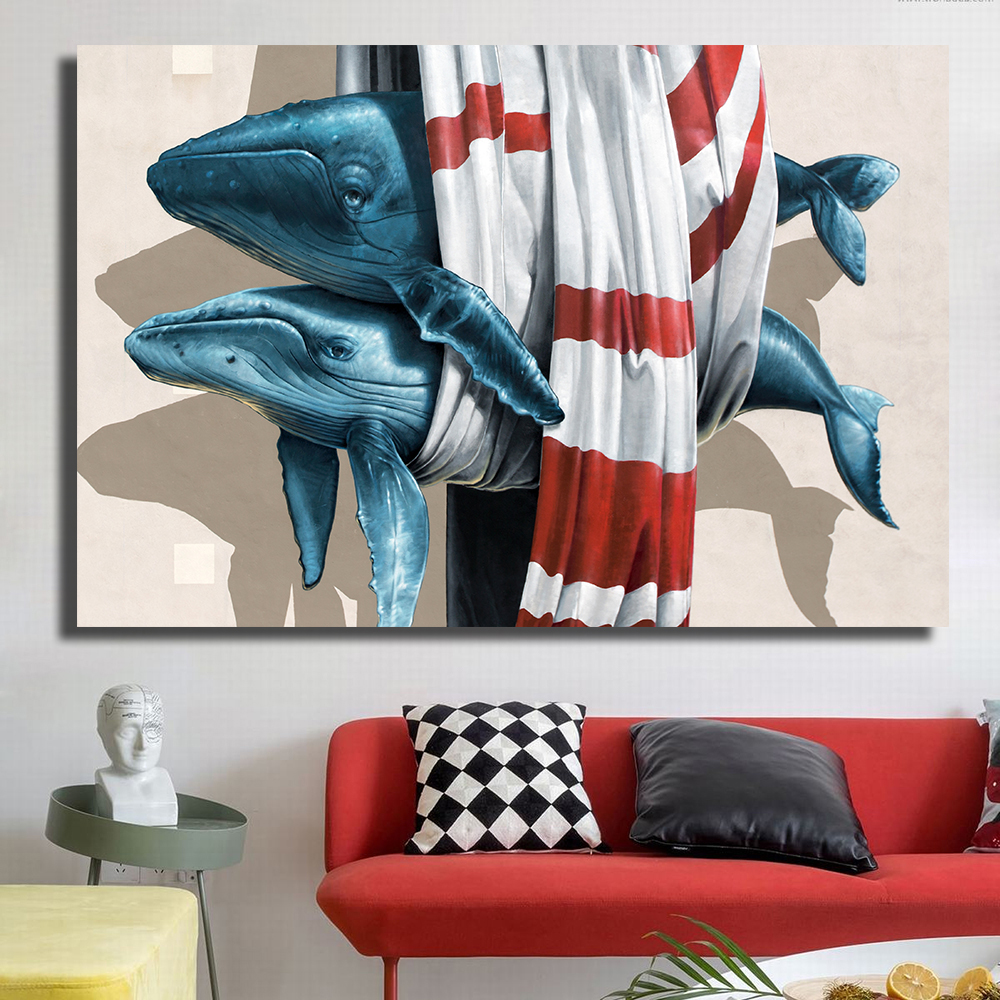 QKART Home Decor Saltwater Fish Animal Mondern Oil
