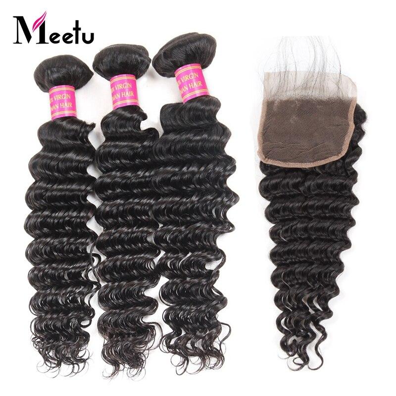 Meetu Deep Wave Hair Bundles With Closure 3 Bundles Peruvian Hair Bundles With Closure Natural Hair Extensions Non Remy Hair