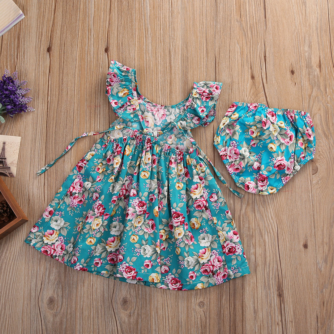2 PCS Cute Toddler Baby Girl Summer Ruffle Floral Dress Sundress plus Briefs Outfits Set girls dresses 2017 summer girls dresses toddler baby girl ruffle floral sleeveless dress sundress briefs bottom 2pcs set flower girls dresses