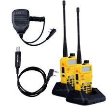 2pcs BaoFeng UV-5R Walkie Talkie Baofeng Two way Radio Accessories VHF UHF Dual Band 136-174/400-520 1X Speaker Mic+1X Cable