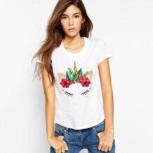 LUS LOS Unicorn Print White T-Shirt Women Now Fashion Spring Summer Short Sleeves Comfortable