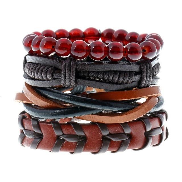 4pcs /Set Fashion Trendy Punk Weave Wrap Strand Women anchor Genuine Leather Bracelets Men Cuff Jewelry Accessories Wholesale