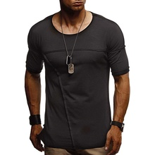 2019 Fashion Mens T Shirts Casual Short Sleeve T-Shirt Solid Patchwork Cotton Tee Male Summer Clothing Eu 2XL