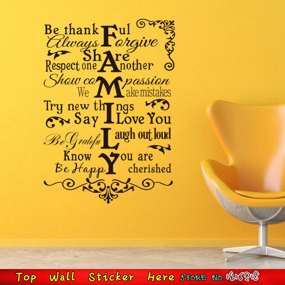 Black Words Waterproof Wall Sticker Family Inspired Quotes Wall ...