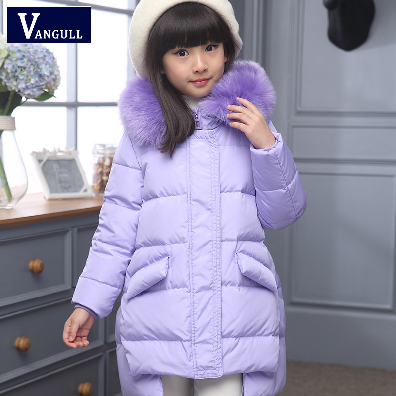 2016 Fashion Girl's Down jackets/coats winter Russia baby Coats thick duck Warm jacket Children Outerwears -30degree jackets fashion boys down jackets coats for winter warm 2017 baby boy thick duck down coat real fur children outerwears for cold winter