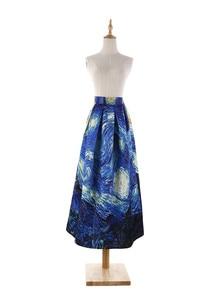 Image 2 - נשים חצאיות מקסי שמי זרועי הכוכבים ואן גוך ציור שמן 3D הדפסה דיגיטלית חצאית טוטו רוקבילי רטרו גבוה מותן חצאית עלים SP003