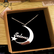 Custom Crescent Name Necklace Pendant Charm Moon Star Statement Necklace Women Islam Jewelry Stainless Steel Collares mujer
