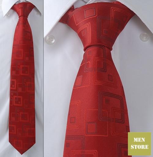 """Темно-красные квадратные Для мужчин жаккардовый тканый шелк ручной работы """" галстук 8 см галстуки Свадебная вечеринка галстук для жениха AT225"""