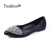 Летний ботинок квартир женщин Большой размер 33-41 мода квартиры обувь женщина комфорт стразы обувь женская босоножки плоским пятки лодка обувь