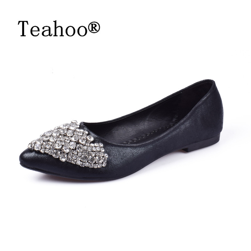 NEW Fashion 2017 Flats Shoes Women Ballet Princess Shoes For Casual Crystal Boat Shoes Rhinestone Women Flats PLUS Size New new women casual boat ballet shoes women round toe flats oxfords breathable lace up walking shoes zapatos plus size 35 40 w237
