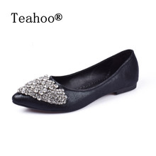 NEW Fashion 2017 Flats Shoes Women Ballet Princess Shoes For Casual Crystal Boat Shoes Rhinestone Women Flats PLUS Size New