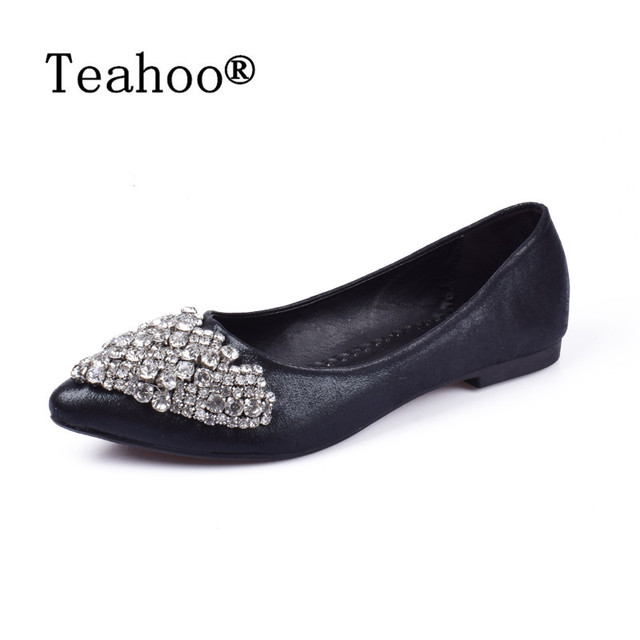 Fashion Women Ballet Princess Shoes For Casual Crystal Boat Shoes Rhinestone Women Flats