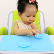Baby Bowl Sucker Place Mat Silicon Magic Anti Slip Desk Mat for Child Dining On Table Tools for Baby Learning to Eat Foods(China)