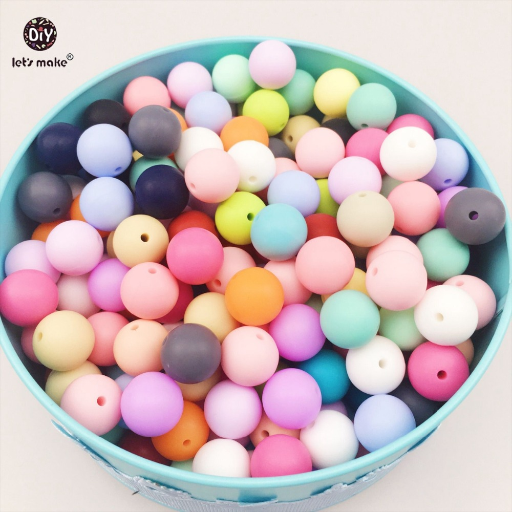 Lets make Silicone Beads Bulk Lot. Food Grade Teething Nursing Chewing Round beads. 12mm Bulk Lot of 100 Loose Silicone Beads