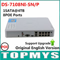 Free Shipping Overseas Version HIK DS-7108NI-SN/P POE Plug & Play 8CH PoE NVR with 8 Independent PoE port Upgradable NVR