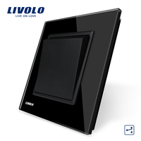 Livolo Manufacturer Black Crystal Glass Panel EU Standard Luxury Push Button Switch 1Gang 2 Way VL