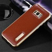 Najwyższej Jakości Prawdziwej Skóry Back Cover Z Premium Aluminiowa Metalowa Obudowa do samsung S6 S7 S8 plus Krawędzi Plus UWAGA 8 Note8
