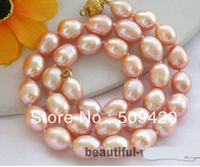 Free shipping >>@ +>17 15mm pink rice freshwater pearl necklace