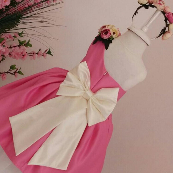 2017 pink one shoulder flower girl dress with Ivory bow sash knee length cupcake princess dress for birthday party