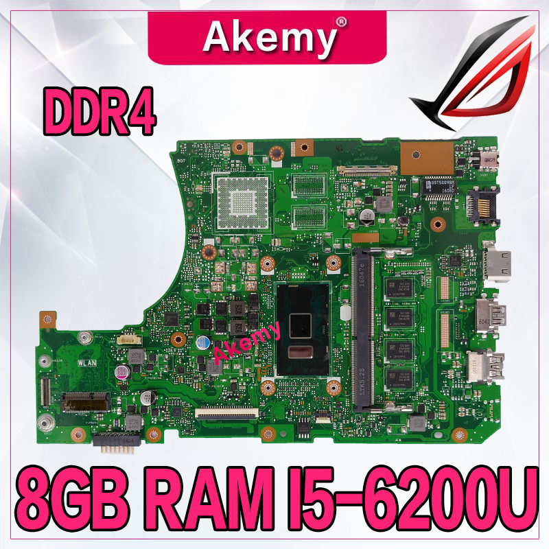 DDR4 X556UAM laptop motherboard for <font><b>ASUS</b></font> X556U X556UV X556UQ X556UQK mainboard Test original motherboard DDR4 8GB RAM I5-6200U image