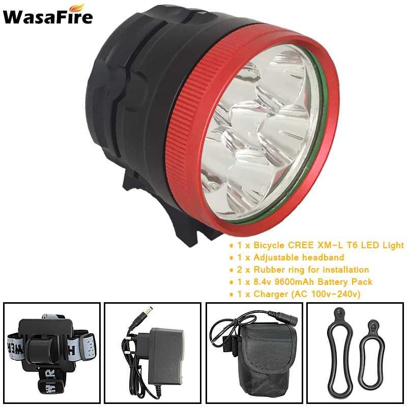 New <font><b>10000</b></font> Lumens 6x XM-L T6 LED Headlight 6T6 Headlamp Bicycle Bike Front <font><b>Light</b></font> Lantern Flashlight + Charger + 8.4V Battery Pack