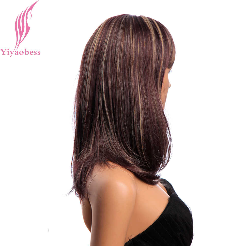 Yiyaobess 18inch Medium Long Wig With Bangs Mix Brown Synthetic Hair Highlights Straight African American Wigs For Women