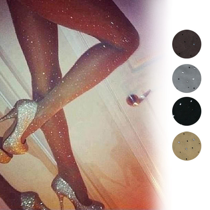 Sexy Women Basic Stretch Ultra Thin Bling Pantyhose Crystal Rhinestone Tights Slim Fit Stockings   XRQ88