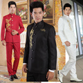 S-3XL 2017 Chinese tunic suit national clothes youth loading stand collar suits costume set male formal dress singer costumes