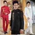 S-3XL 2017 ropa nacional traje túnica China de carga juventud destacan trajes de cuello traje set vestido formal masculina trajes del cantante
