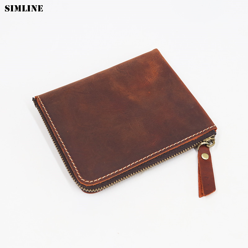 SIMLINE Genuine Crazy Horse Leather Men Wallet Men's Vintage Zipper Small Short Slim Mini Wallets Coin Purse Card Holder Women men wallet male cowhide genuine leather purse money clutch card holder coin short crazy horse photo fashion 2017 male wallets