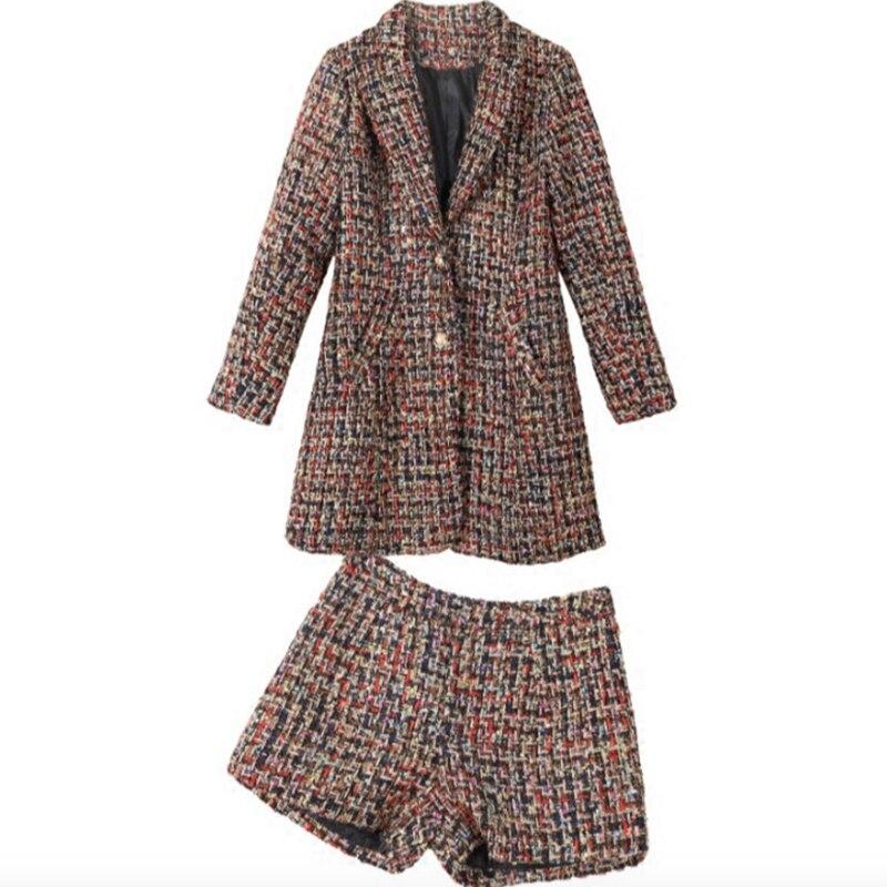 Top Collare Del Inverno Vestito A Multi Pezzi Set Cotone Single Dea Corti petto Lungo Donne Pantaloni Di Autunno Due Tasca 6n1FwZ0