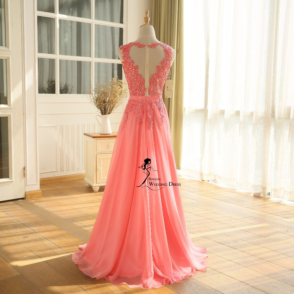 New Arrival Robe De Soiree A line Pink Chiffon Long Evening Dress Party Elegant Sexy Sheer Back Real Image Sleeveless Prom Gown 2016 (28)