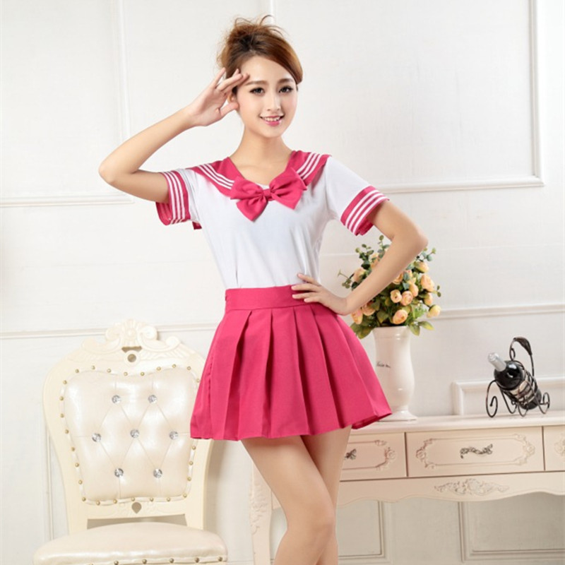 Hot Girls Anime Cosplay School Uniform Japanese Sailor Suit Naughty Students Clothes Short Sleeve Tops Pleated Skirt Sets