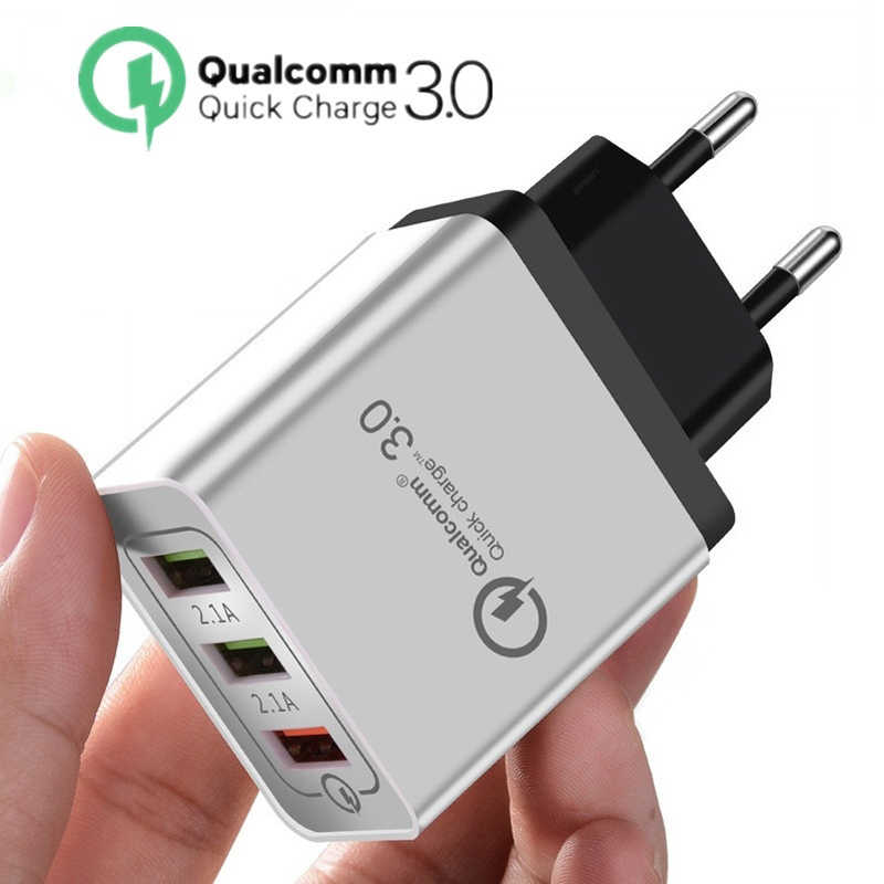 Quick Charge 3.0 USB Charger 5V 2.4A QC3.0 Fast Charging USB Wall Charger for iPhone Samsung Xiaomi Mobile Phone Charger 3 USB