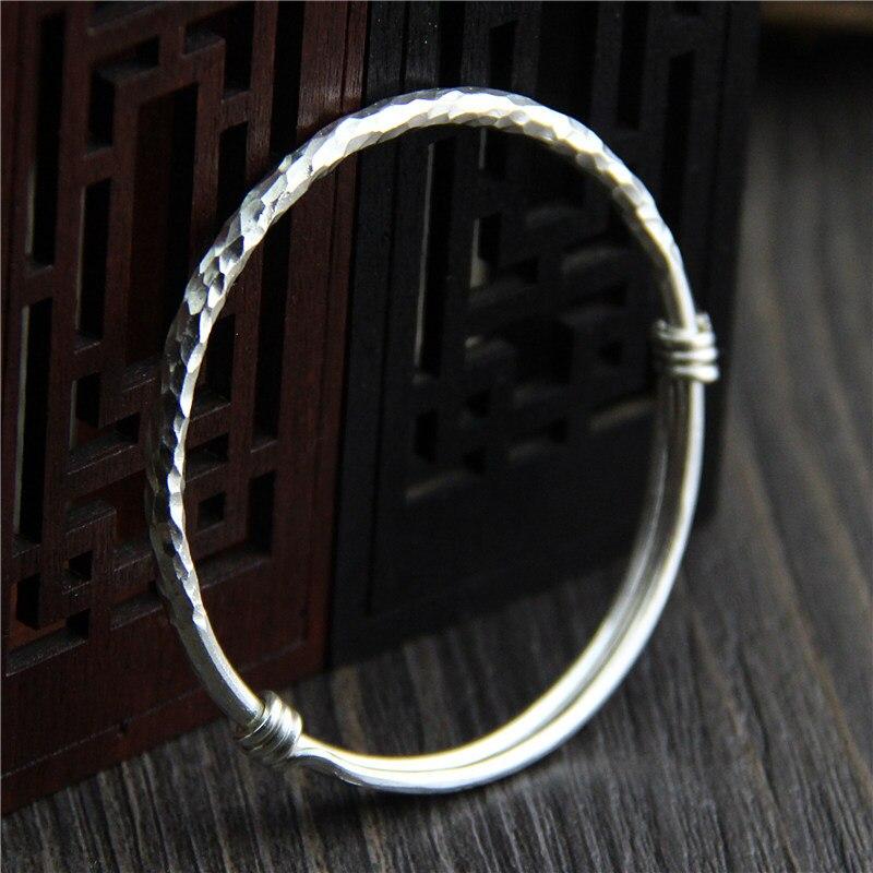 C R Real 999 Sterling Silver bangle bracelet simple knock Uneven surface bracelet Thai Silver bangles