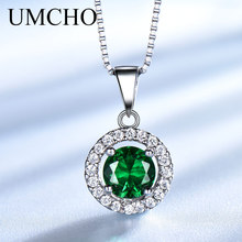 UMCHO Round Nano Stone Necklaces & Pendants 925 Sterling Silver Jewelry Created Emerald Necklace For Women Gift With Chain New